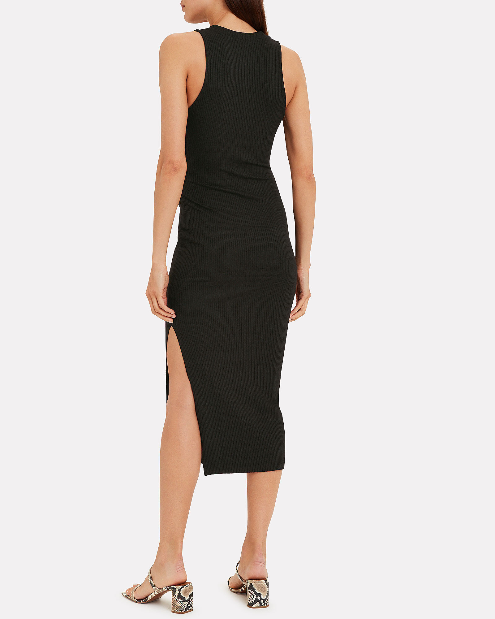 Ribbed Jersey Sleeveless Dress, BLACK, hi-res