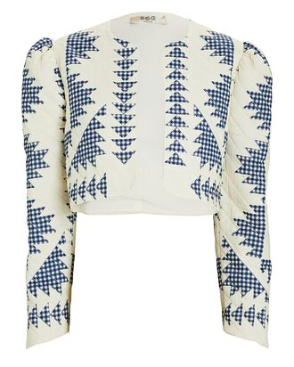 Gloucester Quilted Cropped Cotton Jacket, IVORY/BLUE, hi-res