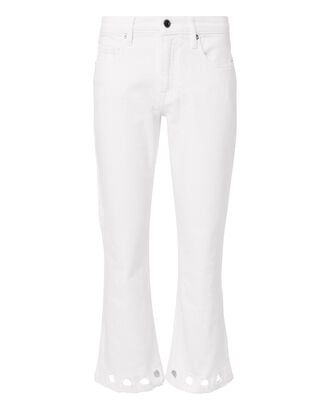 Laced Cuff Denim Pants, WHITE, hi-res