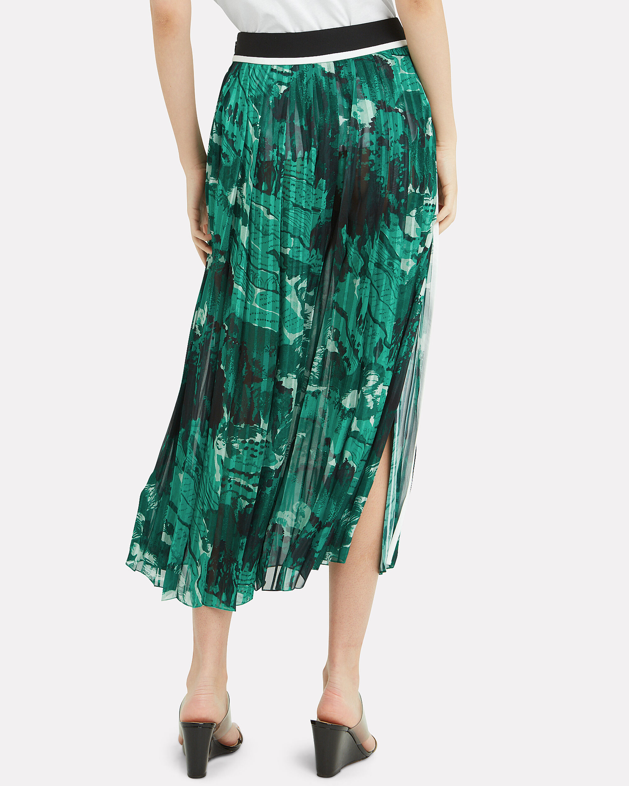 Mixed Print Tier Midi Skirt, GREEN/BLACK, hi-res