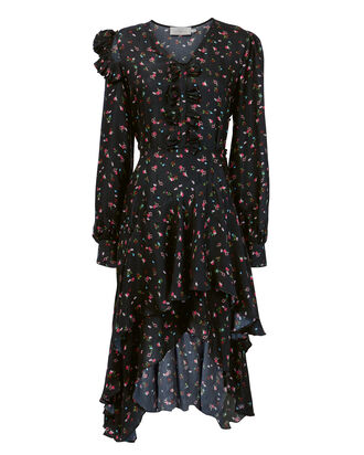 Floral Print Ruffled Hem Dress, BLACK, hi-res