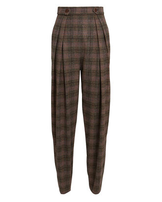 High-Rise Plaid Trousers, GREY, hi-res