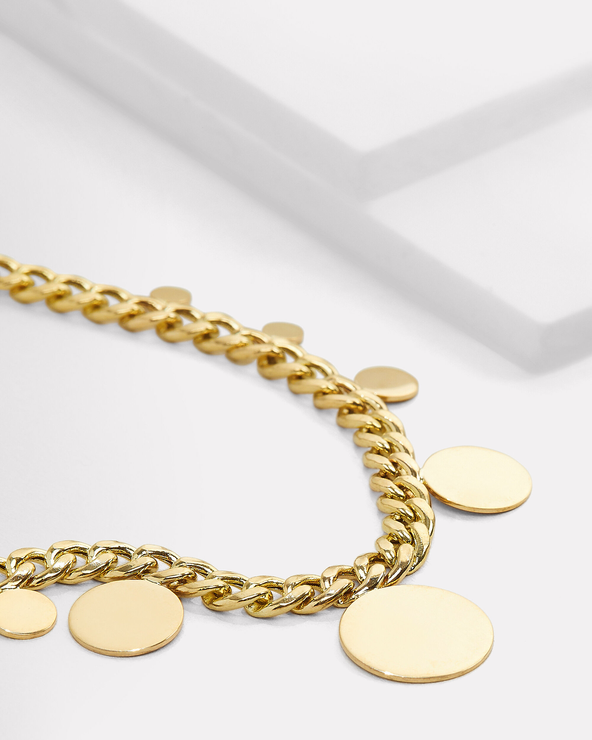 Disc Curb Chain Necklace, GOLD, hi-res