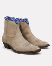 Young Leather Western Booties With Bandana Trim, BEIGE/BANDANA, hi-res