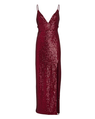 Gillian Sequinned Midi Dress, RED, hi-res