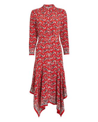 Willamette Paisley Silk Shirt Dress, RED/PAISLEY, hi-res
