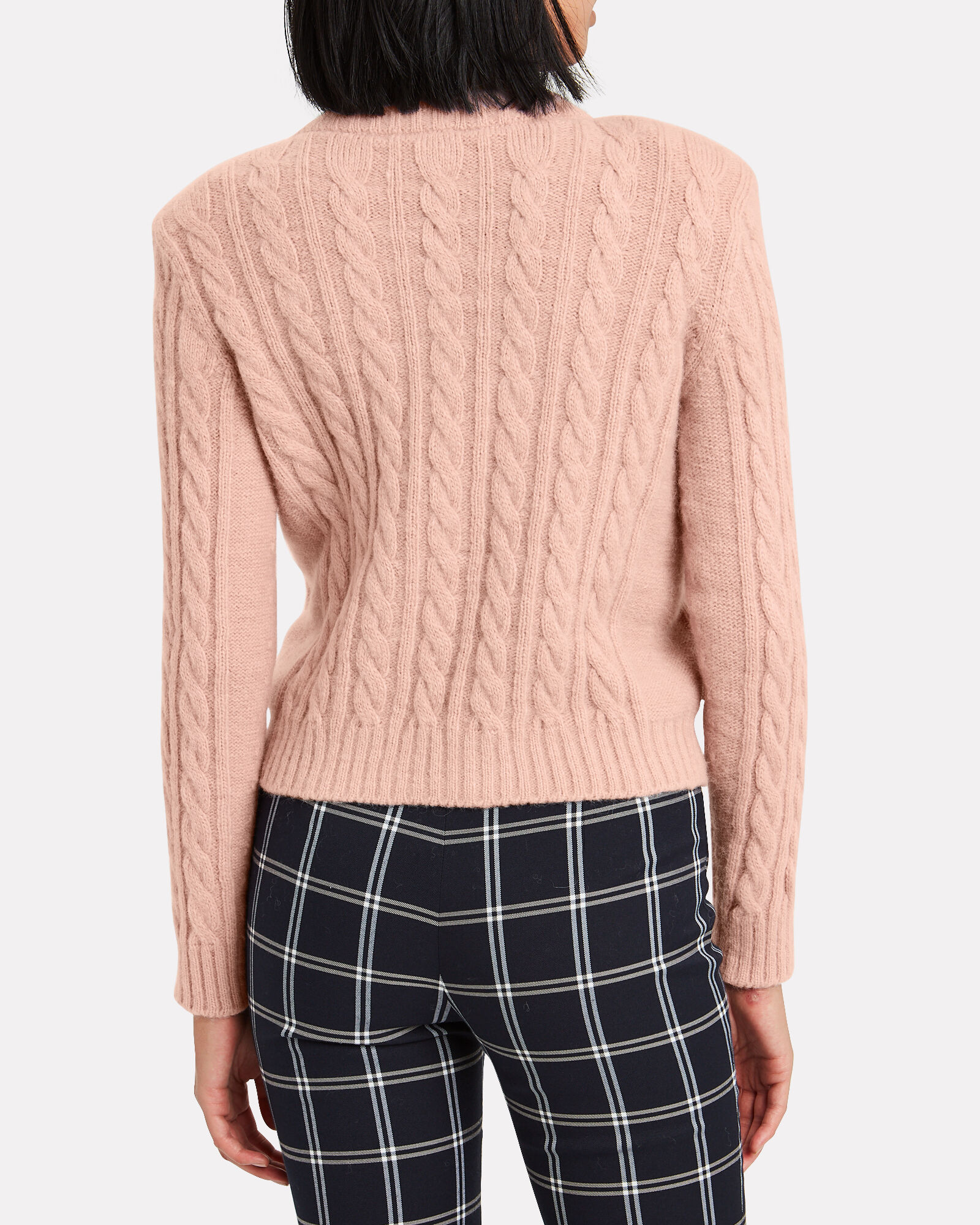 Crystal Embellished Cable Knit Sweater, PINK, hi-res