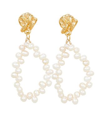 Apollo's Story Pearl Oval Earrings, GOLD/PEARL, hi-res