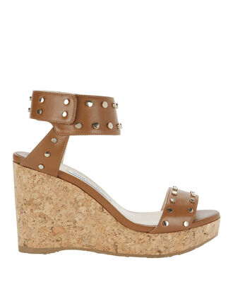 Nelly Leather Wedge Sandals, BROWN, hi-res