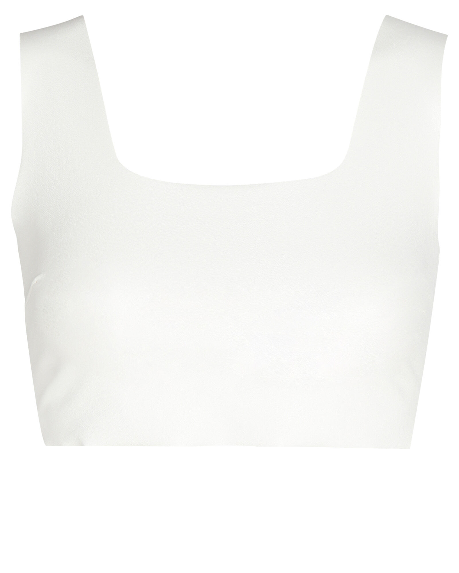 Faux Leather Crop Top, WHITE, hi-res