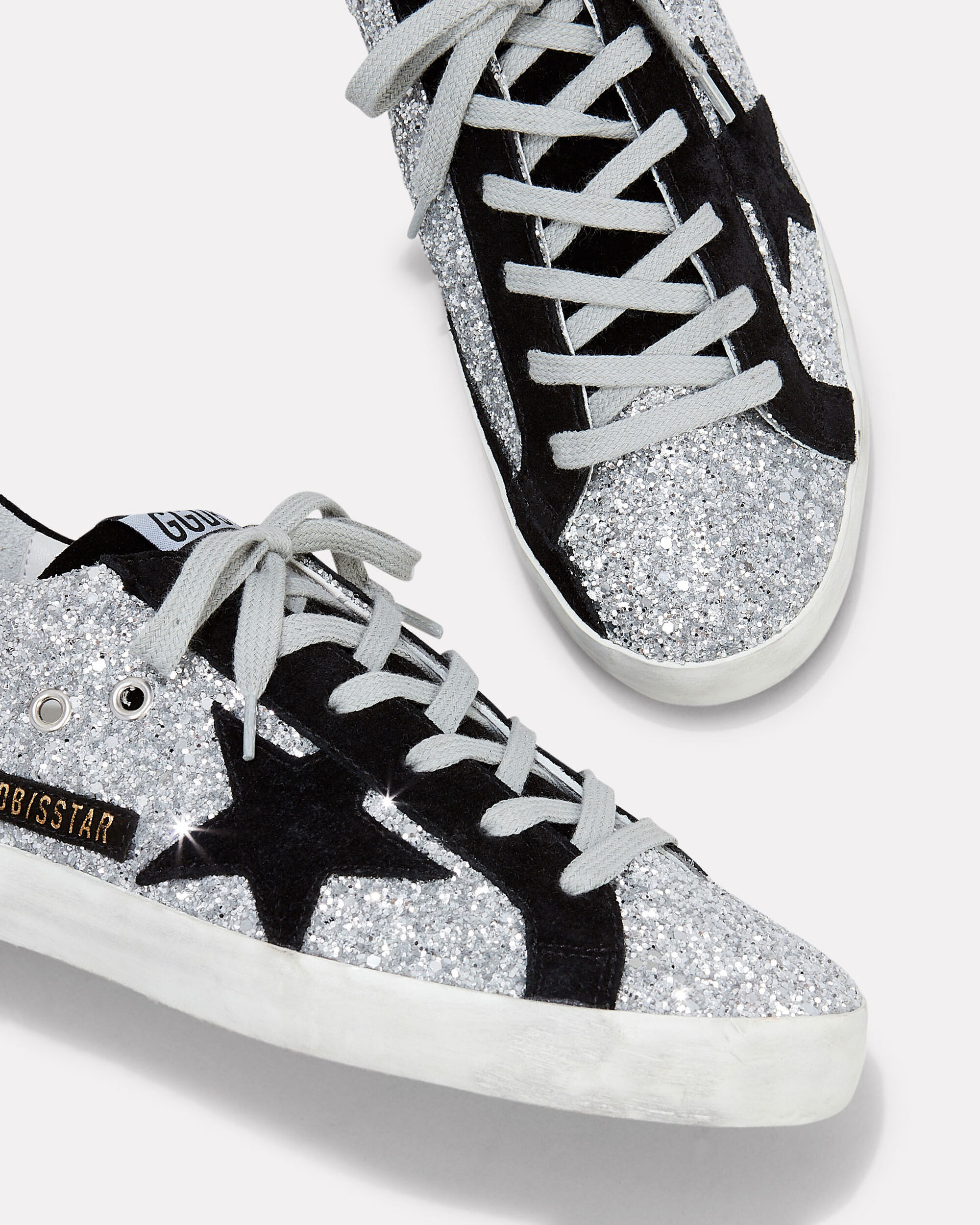 Superstar Suede Star Glitter Low-Top Sneakers, SILVER, hi-res