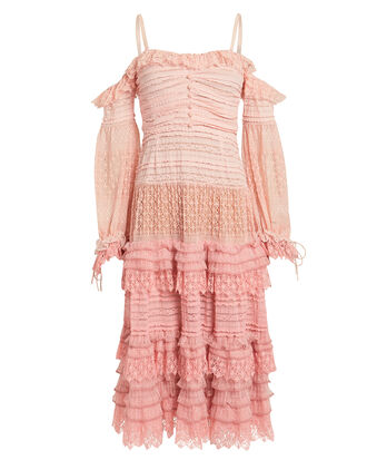 Lace Knit Off-The-Shoulder Dress, PINK, hi-res