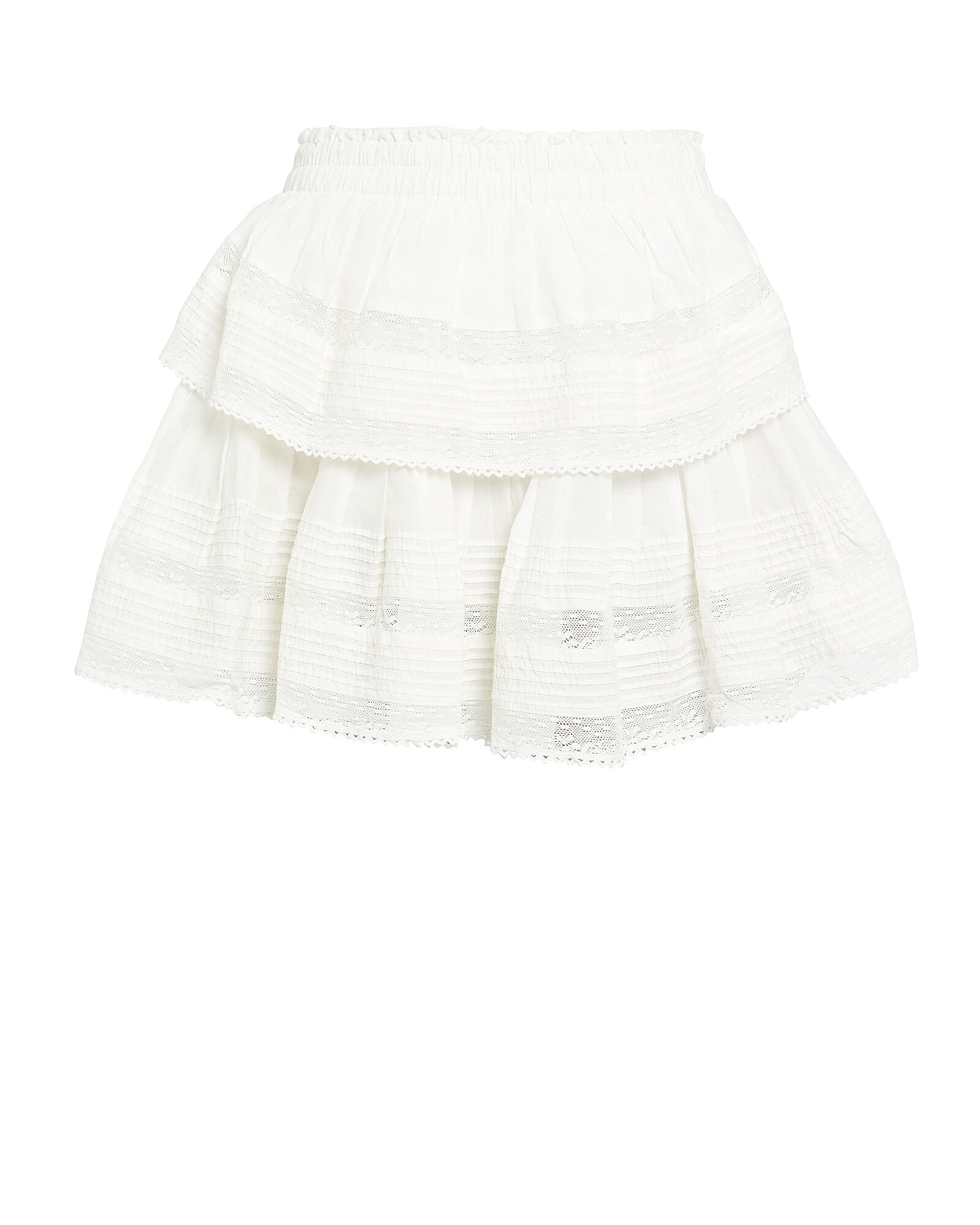 Ruffled Lace-Trim Cotton Skirt, WHITE, hi-res