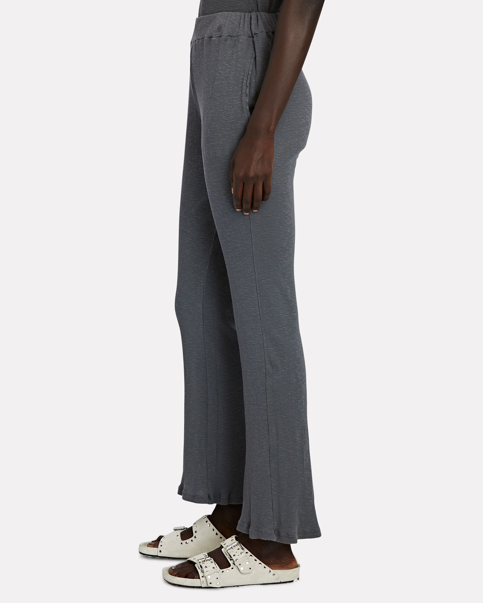 Duffle Flared Rib Knit Pants, GREY, hi-res
