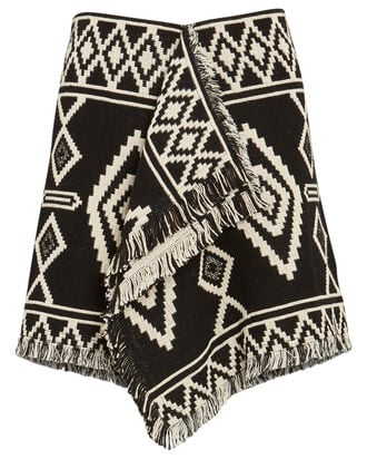 Jiloa Fringed Jacquard Mini Skirt, BLACK, hi-res