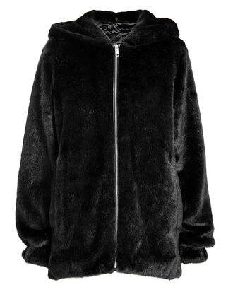 Faux Mink Bomber Jacket, BLACK, hi-res