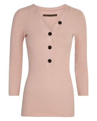 Ribbed Cotton Henley Top, PINK, hi-res