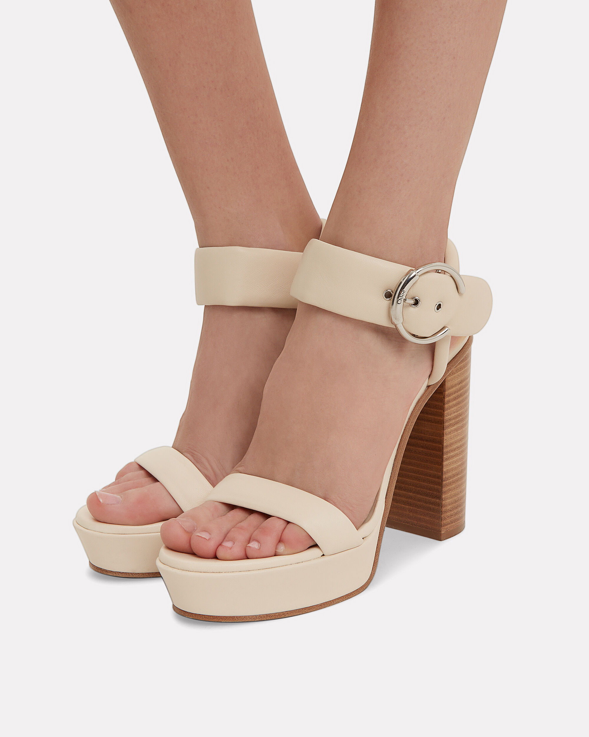 White Leather Stacked Heel Sandals, WHITE/BEIGE, hi-res