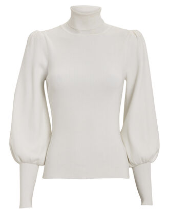 Karla Puff Sleeve Turtleneck, WHITE, hi-res