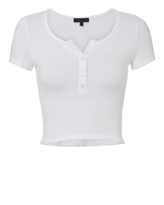 Ribbed Cropped Tee, WHITE, hi-res