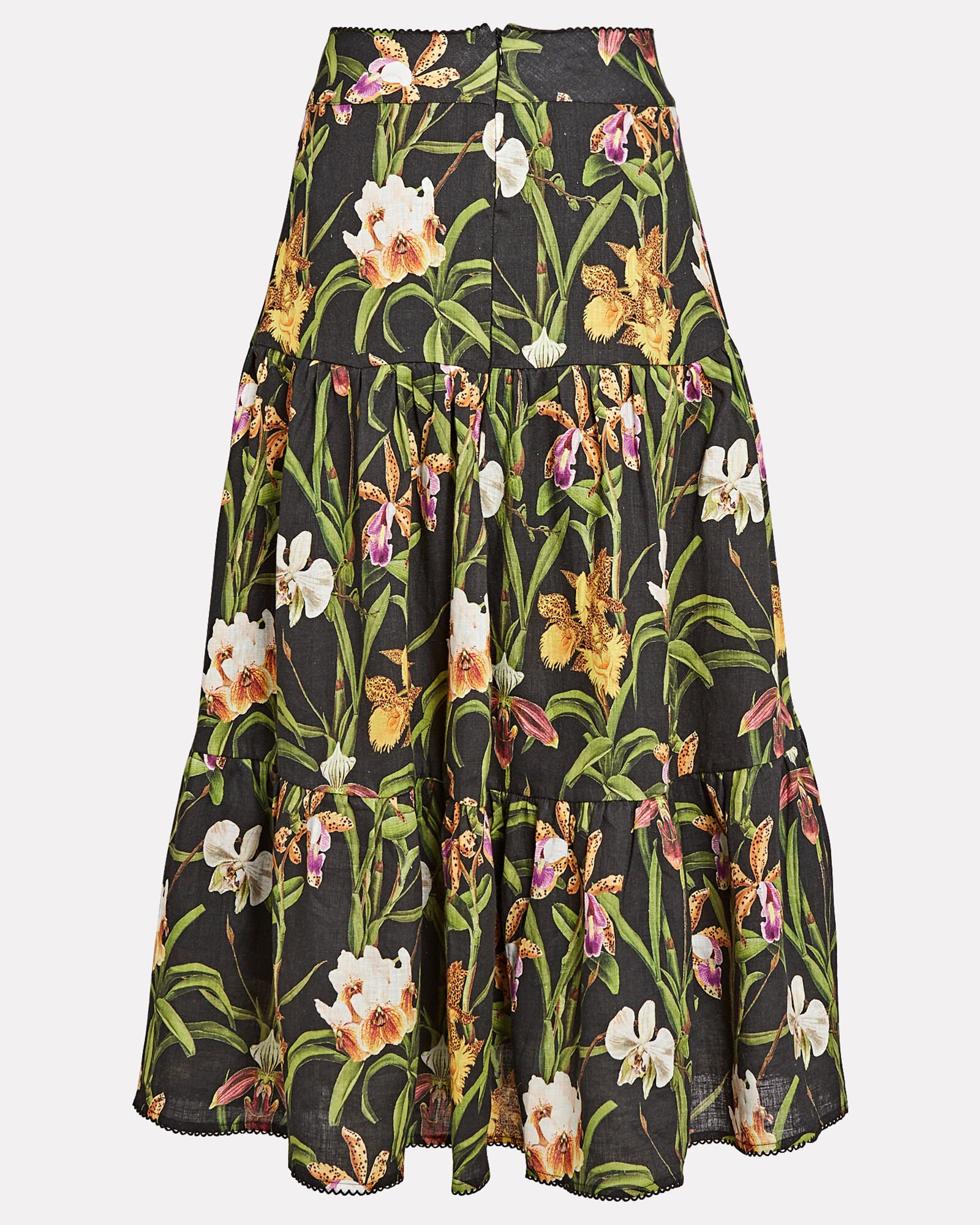 Anis Printed Linen Maxi Skirt, BLACK/GREEN, hi-res