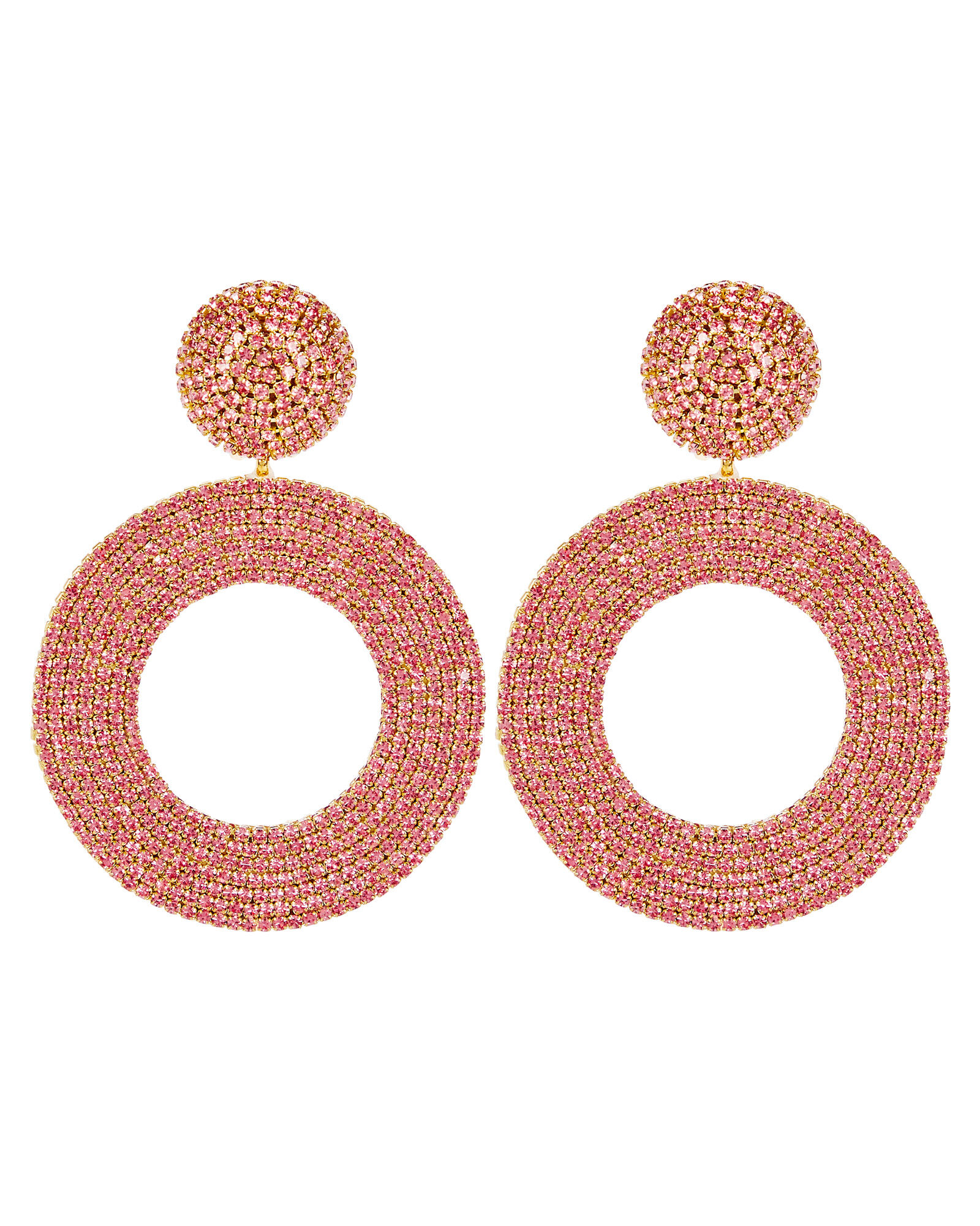 Beaded Circle Earrings, ROSE, hi-res