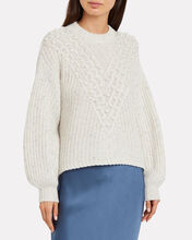 Keltie Pon-Pom Knit Sweater, SPECKLED IVORY, hi-res