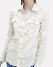 Black Dotted Poplin Shirt, WHITE, hi-res