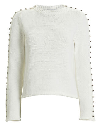 Embellished Cotton-Blend Sweater, WHITE, hi-res