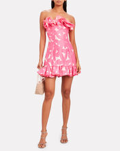 Ruffled Strapless Floral Printed Dress, PINK, hi-res