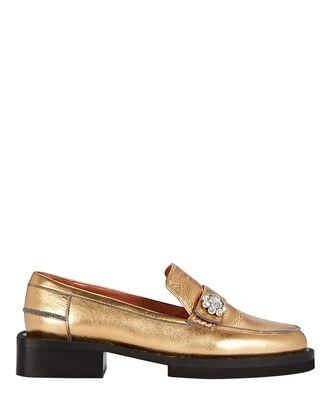 Crystal-Embellished Leather Loafers, GOLD, hi-res