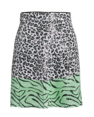 Libby Animal Sequin Mini Skirt, LEOPARD/ZEBRA, hi-res