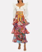Lovestruck Ruffled Floral Paisley Skirt, MULTI, hi-res