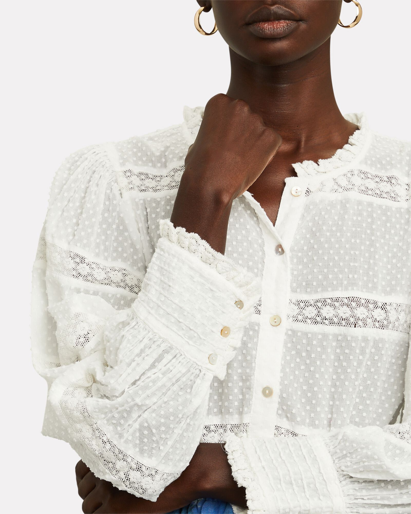 Rochelle Embroidered Cotton Blouse, WHITE, hi-res