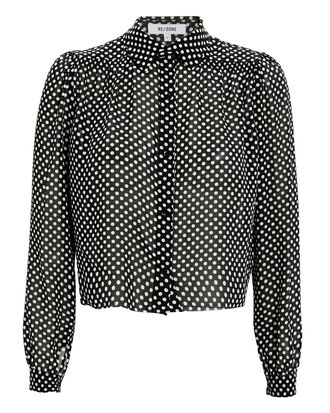 60s Polka Dot Blouse, BLACK/WHITE, hi-res