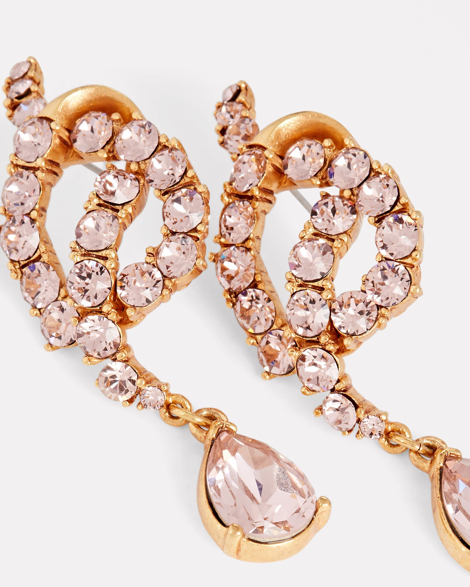 Knotted Crystal Drop Earrings, GOLD, hi-res