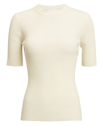 Ribbed Crewneck Top, WHITE, hi-res