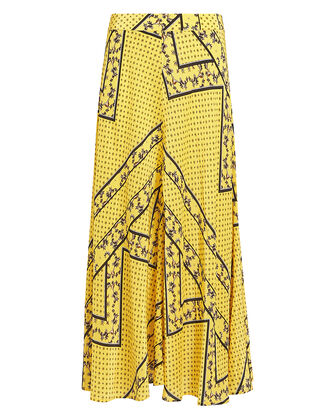 Mix Print Midi Skirt, YELLOW/PRINT, hi-res