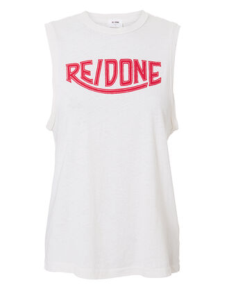 Logo Muscle Tank, WHITE, hi-res