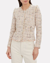 Kiki Bouclé Collarless Jacket, BLUSH, hi-res