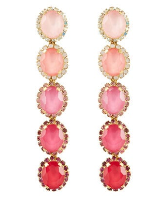 Von Drop Crystal Earrings, PINK, hi-res