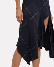 Argyle Asymmetrical Skirt, NAVY, hi-res