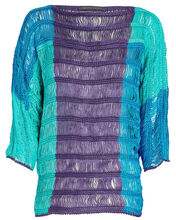 Colorblock Linen Top, BLUE/TURQUOISE/PURPLE, hi-res