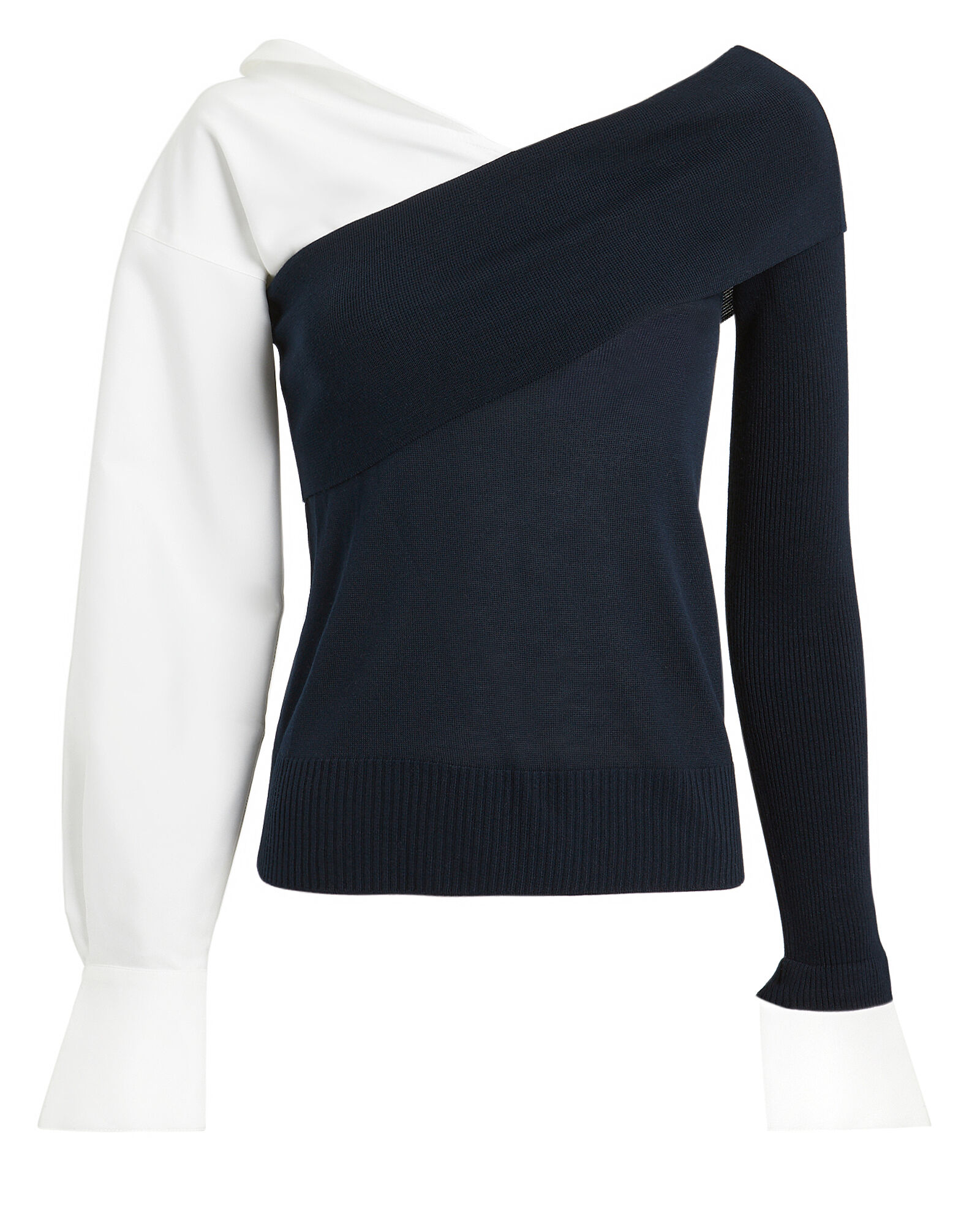 Removable Poplin Sleeve Knit Top, NAVY/WHITE, hi-res