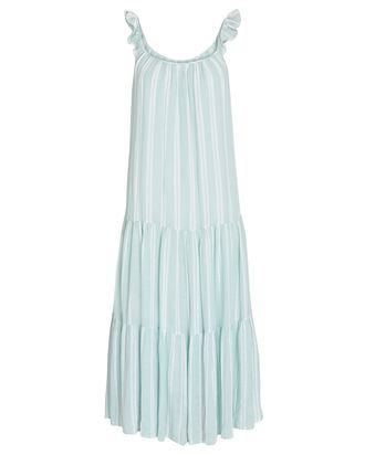Capri Tiered Stripe Midi Dress, LIGHT GREEN, hi-res