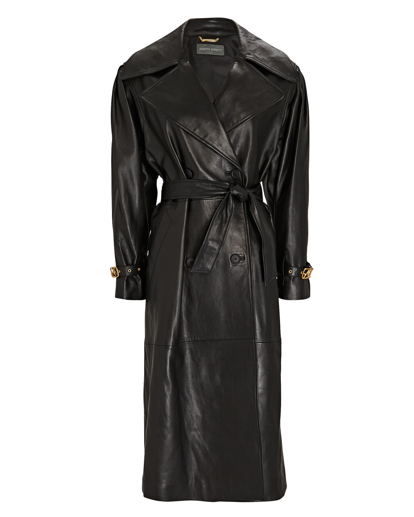 Leather Double-Breasted Trench Coat, BLACK, hi-res