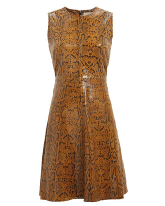 Mercy Snake-Embossed Leather Dress, AUTUMN SNAKE, hi-res