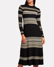 Striped Wool Crewneck Midi Dress, BLACK/OLIVE STRIPE, hi-res