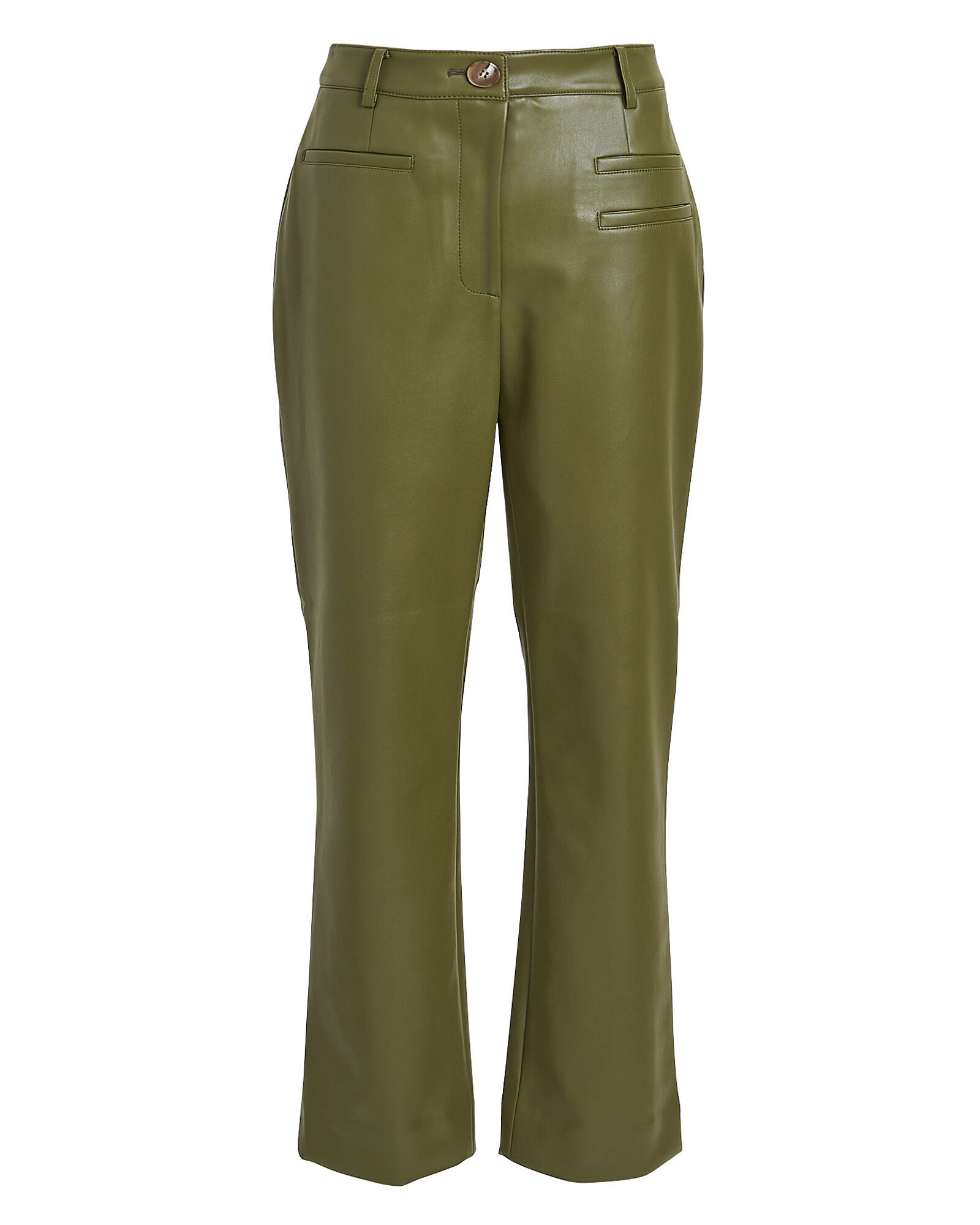 Finley Faux Leather Cropped Trousers, OLIVE/ARMY, hi-res