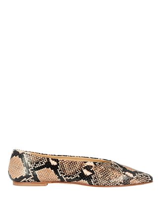 Betty Snake-Embossed Leather Flats, BROWN, hi-res
